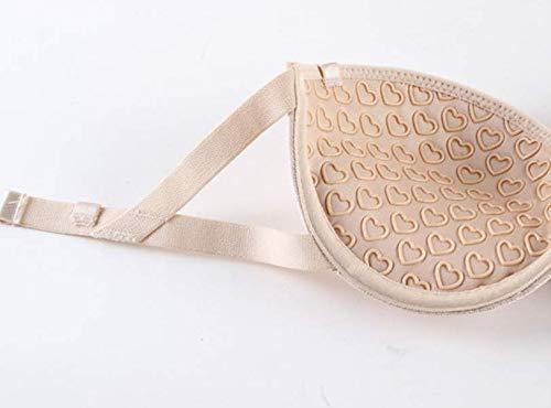 WUSLEI Trägerloser BH Brautkleid Latein Tanzkleid rückenfrei trägerlos unsichtbare Unterwäsche Kleine Brust Raffung Anti-Rutsch Übergröße BH Gr. 75B, beige - 3