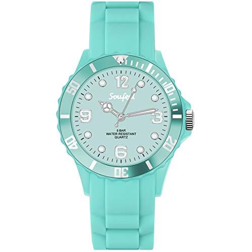 SOUFEEL Silikon Uhr Armbanduhr für Damen Herren Sport Zifferblat Täglich Wasserdicht Durchmesser: 39mm - Grün Geschenk für Muttertag Vatertag Freundin Weihnachten -
