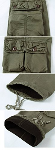 Sunshey Herren Thermohose Thermo-Cargohose Arbeitshose Fleece gefüttert warm Innen aus Baumwolle mit mehere Taschen Loose Fit in schwarz grün khaki Khaki
