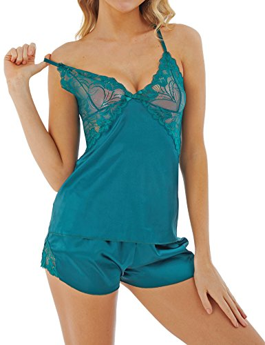 Dromild Mujeres Lencería Sexy Satén Pijamas Shorts Conjuntos de Camisas de Encaje Verde XXL