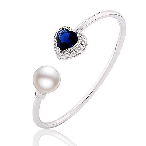 GULICX Bracelet Ouvert Jonc - Cœur De La Mer - Plaqué or blanc-Cœur Saphir et Perle Blanc - Bijoux Romantique Femme