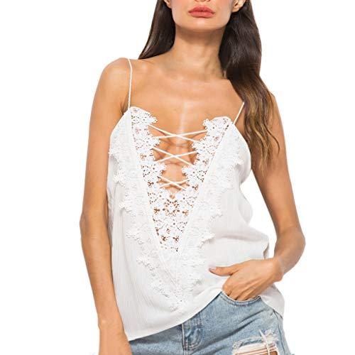 Kviklo Damen T-Shirt Top Schulterfrei Spitze Geschichtet Hohl Quaste Kurzarm Shirt Beach Party Bluse(L(38),Weiß)