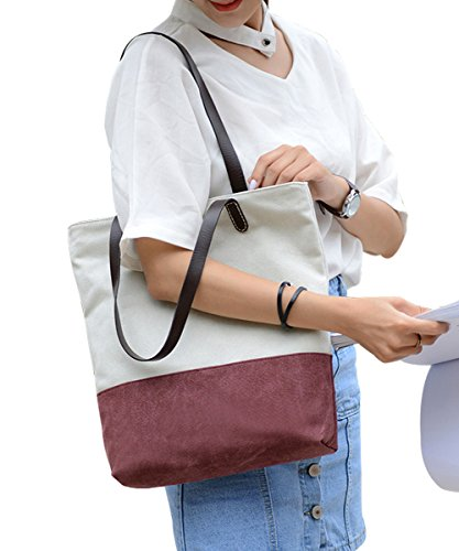 PB-SOAR Vintage Damen Canvas Schöne Schultertasche Shopper Handtasche Henkeltasche 27x36x7cm (B x H x T) (Weiß / Braun) Weiß / Weinrot