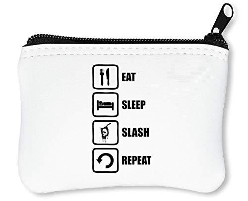 Halloween Inspired Eat Sleep Slash Repeat Myers Graphic Reißverschluss-Geldbörse Brieftasche Geldbörse