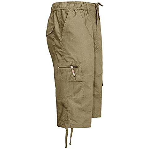 NEW MENS 3/4 ELASTICATED PLAIN SUMMER CARGO COMBAT 6 POCKET SHORTS PANTS[Beige,XXXL]
