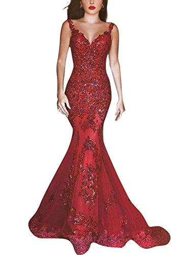 Changjie Damen Ohne Arm Lange Abendkleider 2016 SpitzeApplique Abendkleider Lang Rot