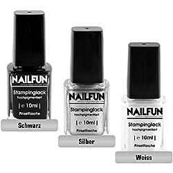NAILFUN Kit de 3 Esmaltes para Estampar 10 ml - Negro, Plateado y Blanco
