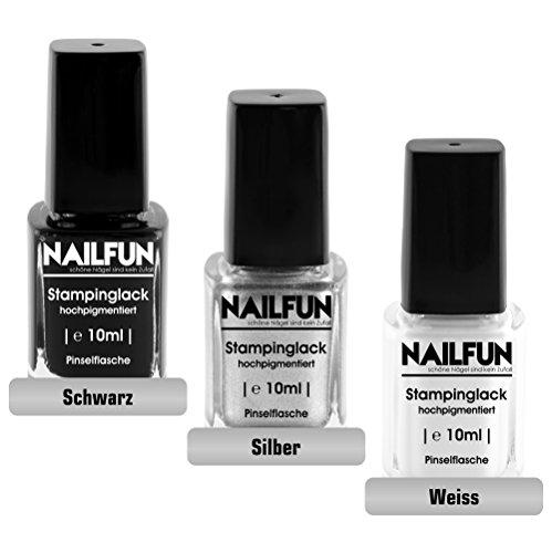 NAILFUN Kit 3 Esmaltes Estampar 10 ml - Negro, Plateado