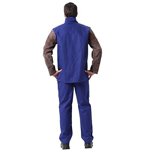 Schweiß-Jacke, Flamme/Hitze / Abriebfest Hybrid-Rindsleder & Flammschutzmittel Baumwolle Langarm Arbeiter Jacke Schweißen Bekleidung für Schweißschutz (XXL)