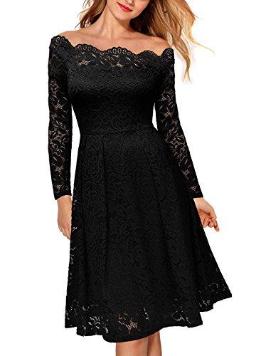 Miusol Damen Vintage 1950er Off Schulter Cocktailkleid Retro Spitzen Schwingen Pinup Rockabilly Kleid Schwarz Gr.XL - 4