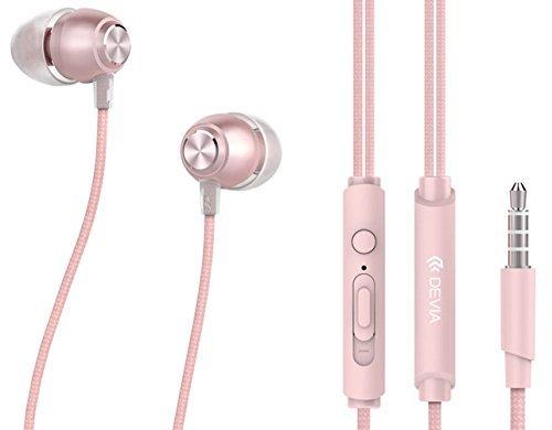 Devia In Ear Kopfhörer Noise Cancelling Headset mit Mikrofon, Fernbedienung für iPhone, Android Rose Gold