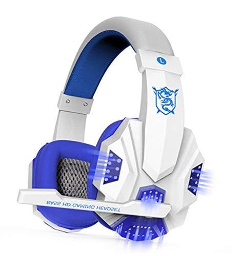 HZY Stereo-Gaming-Headset Für Den Xbox One-PS4-PC-Controller Surround-Sound-Soft-Memory-Ohrenschützer Over-Ear-Kopfhörer Mit Noise Cancelling-Mikrofon LED-Leuchten,White (Controller Xbox One Led-leuchten)