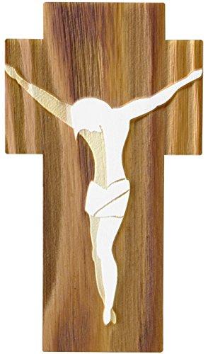 Kaltner Präsente Geschenkidee - Wandkreuz Echtes Holz Kreuz aus Buche Kruzifix Auferstehungskreuz für die Wand 18 cm modern gefertigt im Grödner Tal Südtirol