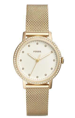 Fossil Damen Analog Quarz Uhr mit Edelstahl Armband ES4366