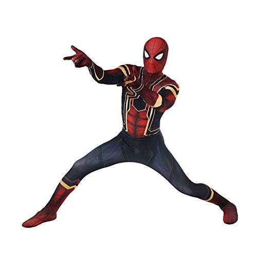 Spiderman Homecoming Kostüm Cosplay Halloween 3D Dimensionale Druck Overall Kostüm Party Requisiten Kopfbedeckung,Adult-XXL (Adult Kostüm Party)
