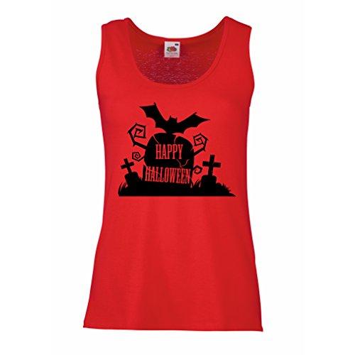 lepni.me Damen Tank-Top Halloween-Friedhof - Kostüm-Ideen - Coole Kleidung Horror-Design - All Hallows 'Abend (XX-Large Rot Mehrfarben)