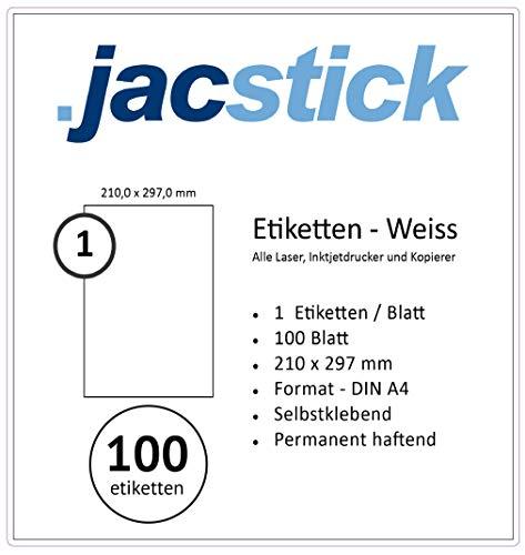 100 Etiketten 210x297mm selbstklebend (vollfächig DIN A4), allround-Qualität weiss