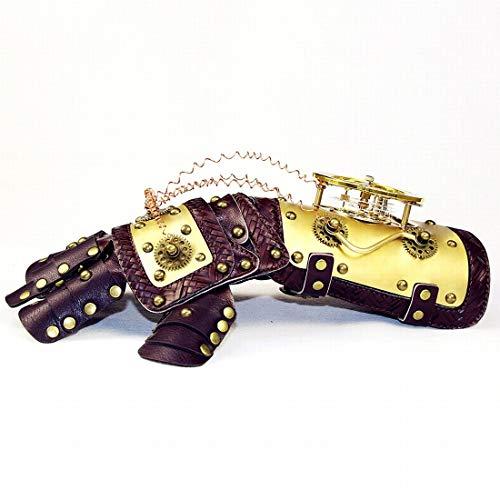 Mkulxina War Gauntlet Gold Arm Handschuh mit Horologe Gears Cosplay Steampunk Requisiten Zubehör mit Geschenkbox
