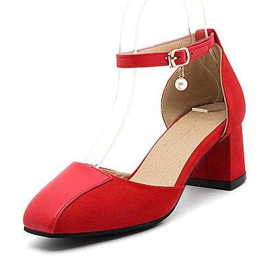 LvYuan Damen-Sandalen-Büro Lässig Party & Festivität-Kunstleder-Blockabsatz-Komfort-Schwarz Rot Mandelfarben Red