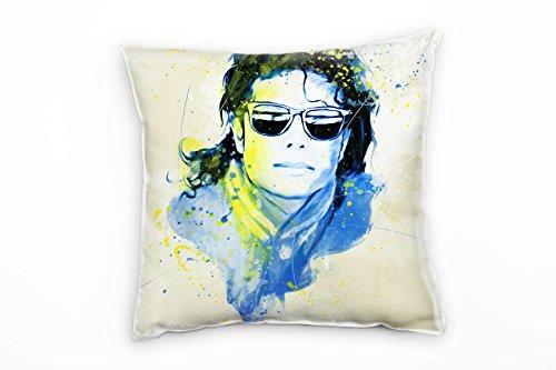 Paul Sinus Art Michael Jackson II Deko Kissen Bezug 40x40cm für Couch Sofa Lounge Zierkissen - Dekoration zum Wohlfühlen Hergestellt in Deutschland (Jackson Michael Reißverschluss)