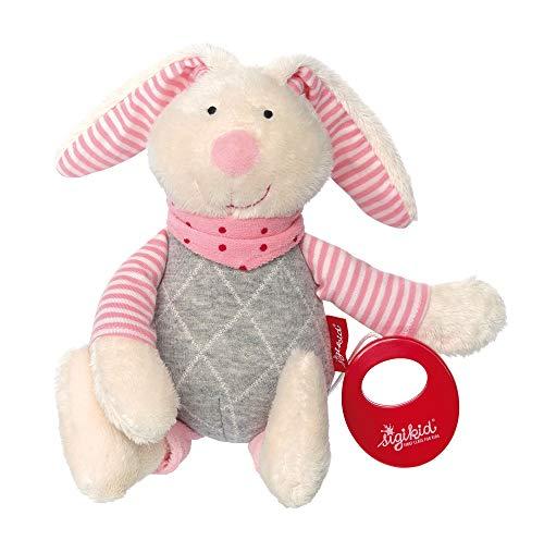 sigikid, Mädchen, Spieluhr, Stofftier Hase, Urban Baby Edition, Grau/Rosa, 39035