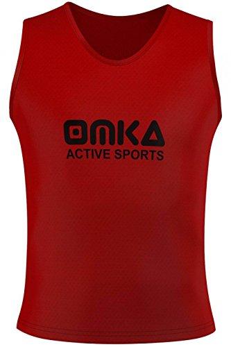 OMKA 10 Stück Fußball Leibchen Trainingsleibchen Markierungshemd Fußballleibchen für Kinder Jugend und Erwachsene, Farbe:Rot, Bibs:Senior (L)