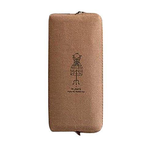 Preisvergleich Produktbild Sanwood Canvas Bleistift Beutel Kosmetik Makeup MünzeAufbewahrungstasche Zipper (Braun)