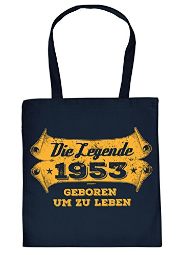 Stofftasche mit Geburtstagsmotiv: Die Legende 1953, geboren um zu Leben - Tasche - Einkaufstasche - Navyblau