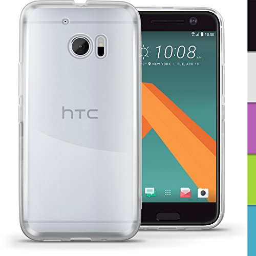 igadgitz Transparente Claro Lustroso Funda Carcasa Gel TPU para HTC 10 2016 Case Cover + Protector