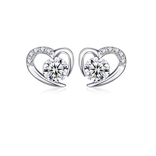 L.Adorer Silber Ohrringe für Frauen Liebendes Herz 925 Sterling Silber Ohrringe,5A Kubisches Zirkonium Schmuck für Frauen Geschenkbox,Keine Allergene