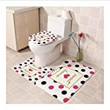 guduxiaodian Toilet Mat Set Brand Red Rose Flannel Bathroom Mats Anti Slip Suede New Butterfly Toilet Mats Beauty Flower Toilet Carpet 3Pcs/Set E