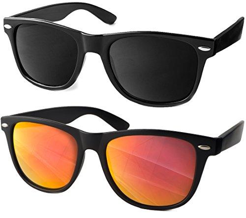 UVprotect Sonnenbrille Wayfarer Design verspiegelt W02 B Set 3 per pack Schwarz Orange