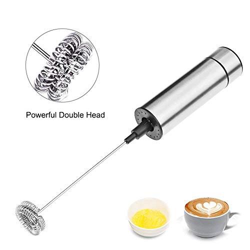 VIFLYKOO Montalatte Elettrico, Frusta a Doppia Spirale a Batteria Per latte cremoso, schiumoso, caffè e adatto per miscelatori Liquido con batteria (argento)