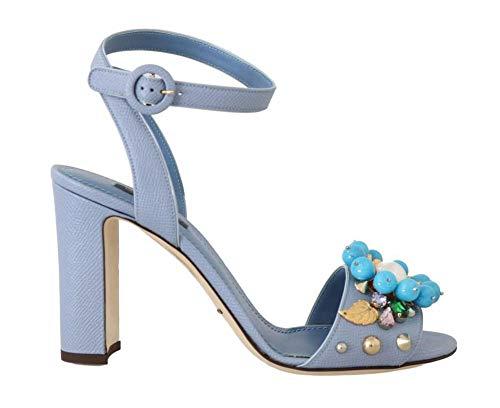 Dolce & Gabbana - Damen Sandalen - Blue Leather Crystal Pearl Sandal - EU 39