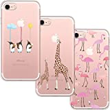 [3 Pack] Custodia iPhone 7, Cover iPhone 8, Blossom01 Custodia in silicone per TPU ultra sottile in gel morbido con Cute Cartoon per iPhone 7 / 8 - Flamingo & Giraffe & Penguin