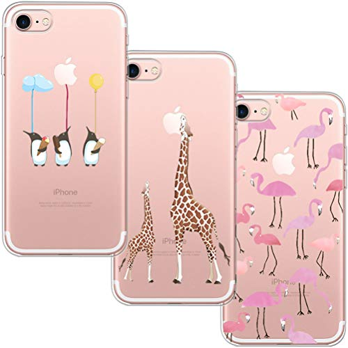 [3 Pack] Funda iPhone 7, Funda iPhone 8, Funda de Silicona Blossom01 U
