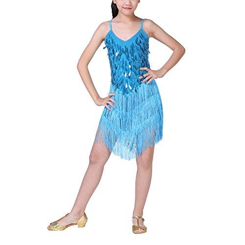 Brightup Mädchen Kinder Sequined Tassel Tanzen Latin Rumba Kleid, Halloween Party Kleid, Blau, Höhe Vorgeschlagen: 110-120cm (Weihnachts Tanz Kostüm Ideen)