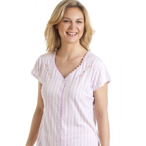 Camille - Pyjama rayé à manches courtes - femme - lilas Violet