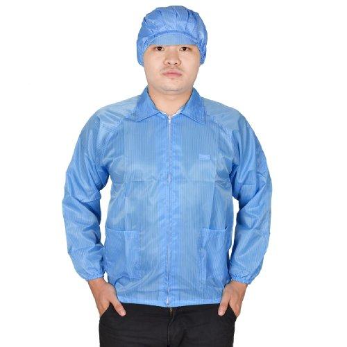 Pantalones de deporte para mujer hombre Azul puños elásticos bolsillos de parche anti-estático alicates de precisión para trabajo Lab impermeable perchero L