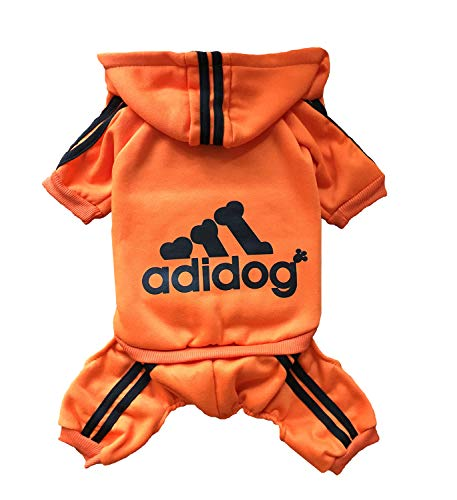 Rdc Pet Adidog Dog Hoodies, Clothes,Fleece Jumpsuit Warm Sweater,4 Legs Cotton Jacket Sweat Shirt Coat for Small Dog Medium Dog Large Dog (Orange,XL) Bulldogs Fleece-sweatshirt