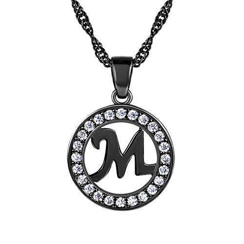 alskette Buchstaben Letter M Hohl Runde Kettenanhänger Alphabet Anfangsbuchstabe schwarz Metall plattiert Modeschmuck für Damen Frauen Mädchen ()