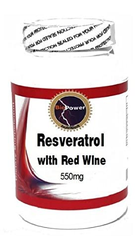 Resveratrol with Red Wine 550mg 90 Capsules # BioPower Nutrition