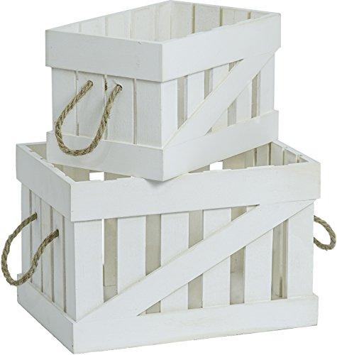 Juego De 2 blanco Caja madera Cajas de manzana Vintage Dekokisten Caja