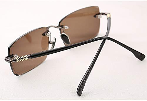 LKVNHP Hohe Qualität Glas Sonnenbrille Männer Braun Sonnenbrille Für Mann Anti Eye Dry Natürliche Kristall Objektiv Federscharnier Uv400 Randlose BrillenGrau Rahmen