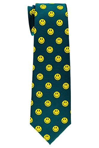 Jungen Smiley-gesicht (Retreez Jungen-Krawatte mit Smiley-Gesicht, gewebt, 8-10 Jahre, verschiedene Farben Gr. 140 cm, grün)
