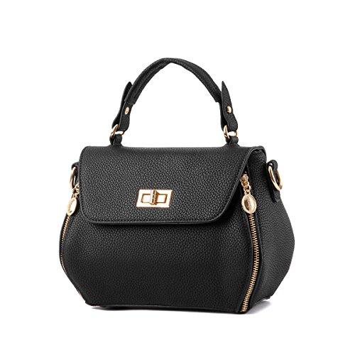 Emotionlin Delle Donne Impressionabili Bowknot Stile Progettista Cowry Spalla Borsa Top Handle Bag(Red) Black