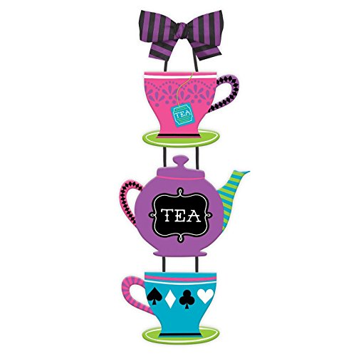 mad-hatter-tea-cup-with-bow-party-shabby-chic-hanging-wooden-sign-wall-art-party-decoration