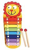 Lena 32170 - Holz Xylophon Löwe, Kinderinstrument mit 8 farbigen Klangplatten zum Spielen einer Tonleiter, Spielzeug Instrument für Kinder ab 2 Jahre, Musik Klangspiel, Schlaginstrument