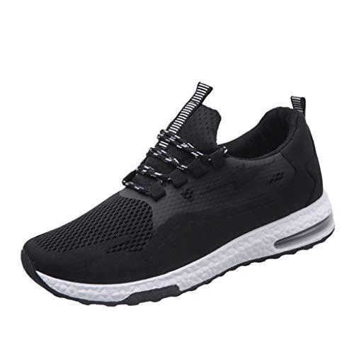 CUTUDE Herren Neue Freizeit Sportschuhe Koreanische Outdoor Athletisch Sneaker für Gym Walking Jogging Laufen Basketball Frühling Sommer (Schwarz, 43 EU)