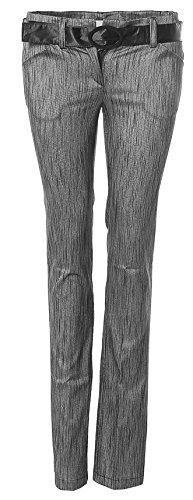 RINASCIMENTO PANT regolare striscia di cintura Slim grigio argentato